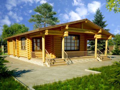 проекты одноэтажных домов из бревна